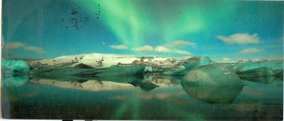 Island, polární záře, prošlá se známkou, podlouhlá
