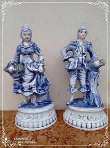 *** Staré porcelánové malované párové sochy ***