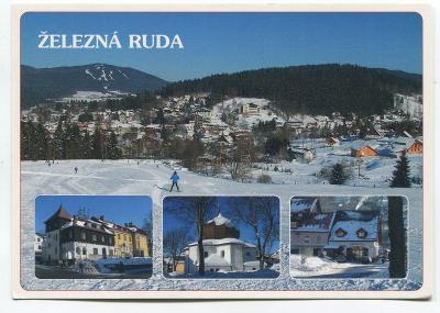 ŽELEZNÁ RUDA, Klatovy, ŠUMAVA - kostel, stará pošta, pohled ze Samot
