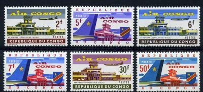 Kongo Kinshasa 1963 ** letectvo AIR CONGO komplet mi. 145-150