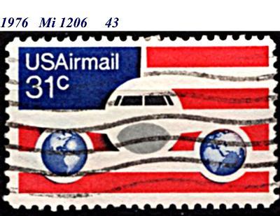 USA 1976, letecká, letadlo a vlajka