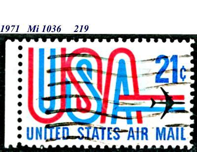 USA 1971, letecká, nápis USA + proudové letadlo