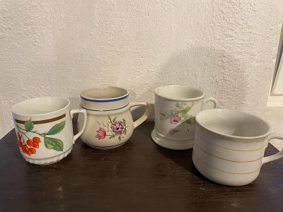 4 staré porcelánové hrnky - značeno, lepené