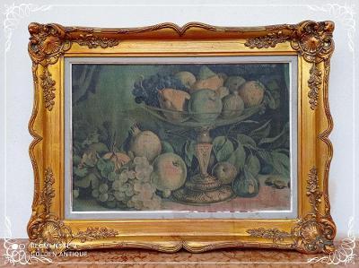*** 100 letý dřevěný zdobený obraz olejomalba - zátiší  ***
