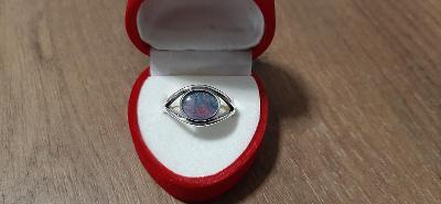 Stříbrný prsten s přírodním opálem 925/1000