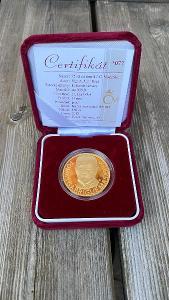 Investiční zlato - Tomáš Garrigue Masaryk - 1OZ medaile proof - č. 77!