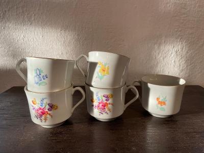 5 starých porcelánových šálků EPIAG Czechoslovakia značeno