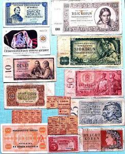 Poválečné oběživo ČSR bankovky NEPERFOROVÁNY