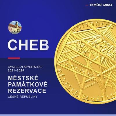 2 x 5000 Kč Zlatá mince ČNB Cheb 2021 BK a PROOF