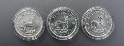 Stříbrná mince Krugerrand 1 oz - 3 kusy (2019, 2020, 2021)