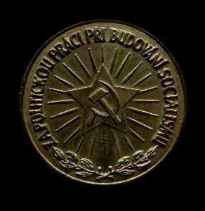 ČSR -Medaile-s Hvězdou BUDOVATEL SOCIALISMU 60mm bronz, těžká ,Plaketa