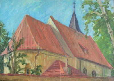 Kostel, akryl na plátně