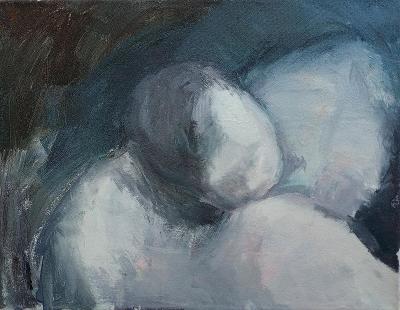 """Akryl na plátně, """"Kojení v noci"""", 45 x 35 cm"""