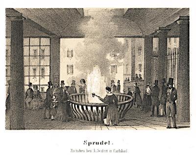 Karlovy Vary vřídlo, Seifert, litografie,  (1850)