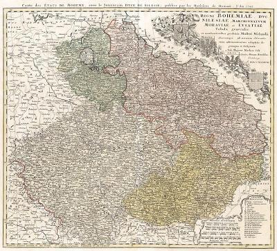 Homann Erben : Regni Bohemiae, kol. mědiryt, 1747