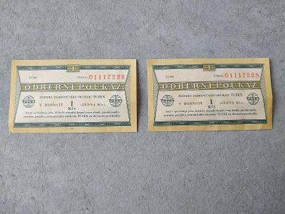 Bankovka stará bankovka  Platidlo Sbírka Peníze Bon Tuzex Poukázka 1