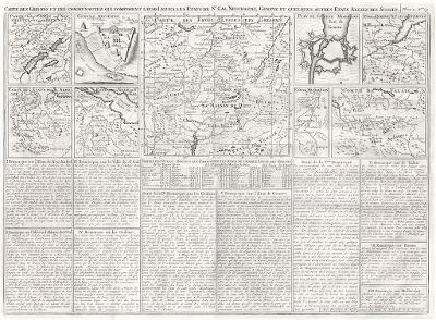 Neuchastel , Geneve, Chatelain, mědiryt, 1707