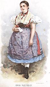 Kroj Plzeň žena, Liebscher, chromolito, (1905)