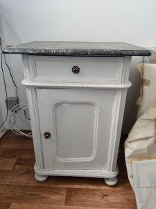 Noční stolek s mramorovou deskou (1ks)