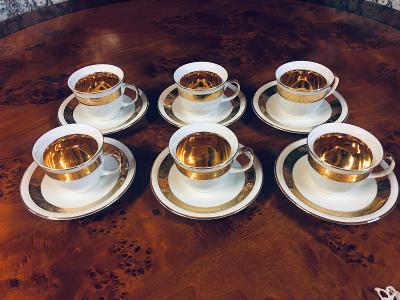 Porcelánový servis čajový zlacený