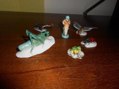 6 x starožitné miniatury z porcelánu Keramos Austria a jiné stav OK