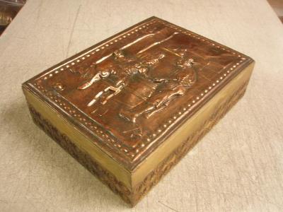r3349a * stará krabice / kazeta * měď / dřevo