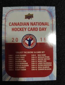 2016 Upper Deck Canadian National Hockey Card Day  - Checklist
