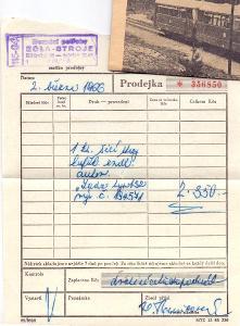 ŠICÍ STROJ LADA 132 - prodejka + záruční list # 1966