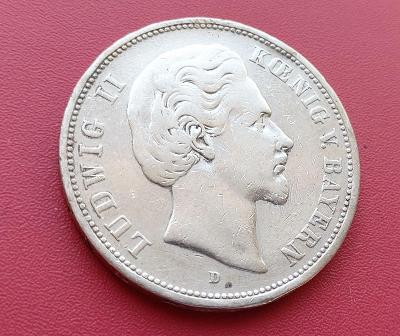 Německo - 5 Marka 1875 D. Hodně vzácná. Bavorsko, Ludwik II. Ag