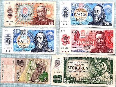 6 x bankovky ČSR, 1961, 1986, 1987, 1988, Neperforovány