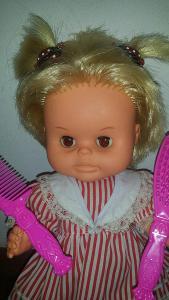 staré malé vlasaté  hnědooké HAMIRO - retro panenka *32cm