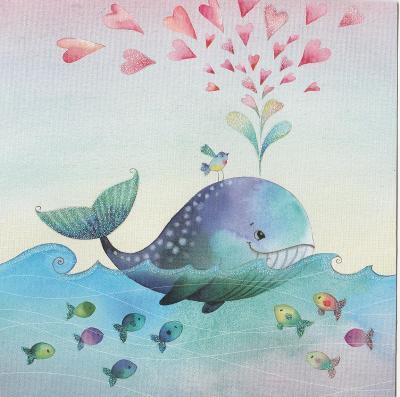 Velryba zdobené a ptáček
