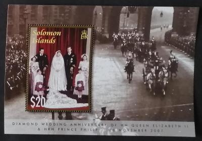 Šalomounovy ostrovy 2007 Bl.97 7€ 60 let svatby královny Alžběty II.