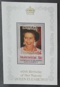Montserrat 1986 Mi.620Bl. 4,5€ 60 let královny Alžběty II.