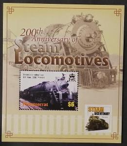 Montserrat 2004 Bl.103 5,5€ 200 let parních lokomotiv, vlaky