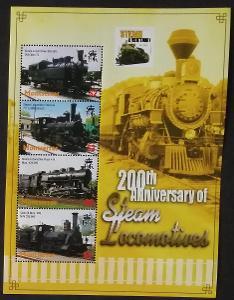 Montserrat 2004 Mi.1255-8 7€ 200 let parních lokomotiv, vlaky