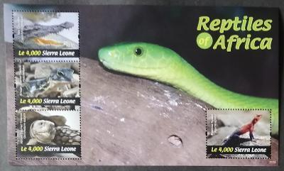 Sierra Leone 2011 Mi.5476-9 10€ Krokodýli, hadi a plazi Afriky