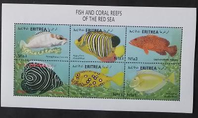 Eritrea 2000 Mi.230-5 10€ Korálové ryby Rudého moře