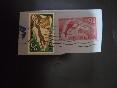 Nigérie, pták, papoušek, gepard, aerogram (výstřižek), známka