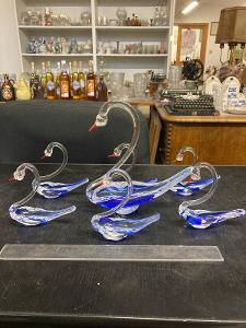 Skleněné labutě - Hutní sklo- sada 1+6 ks