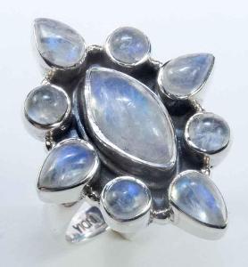 Měsíční kámen a stříbro, prsten Ag25, INFO pro všechny v popisu!