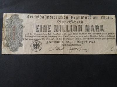 1 MILLION MARK - REICHSBAHN FRANKFURT 1923 - železnice - NĚMECKO
