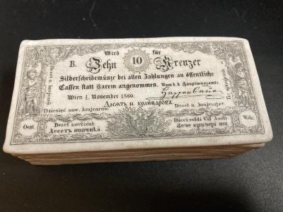 Dóza na zápalky se škrtidlem 10 krejcar 1860 z doby Františka Josefa I