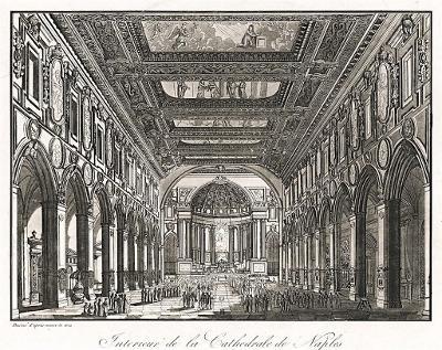 Napoli Duomo interier, akvatinta, (1830)
