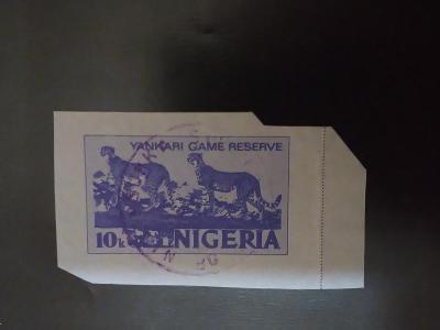 Nigérie, obora Yankari, dnes Národní park, gepard, aerogram-výstřižek