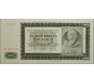 1.000 K 1942, II. vydání, série Cc, perforovaná (SPECIMEN nahoře)