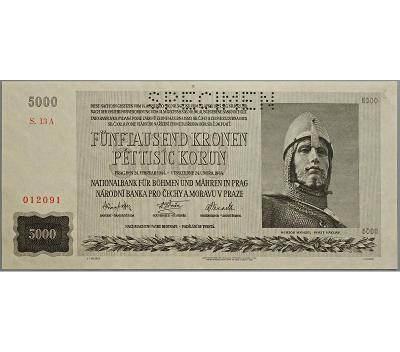5.000 K 1944, série 13 A, perforovaná (SPECIMEN nahoře)