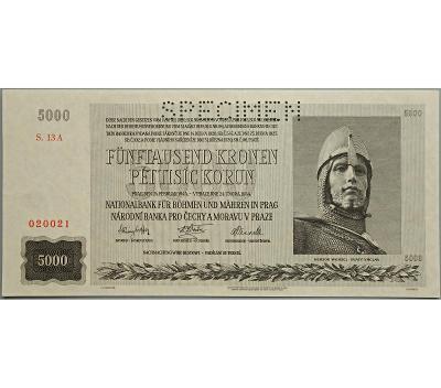 5.000 K 1944, série 13 A, perforovaná (SPECIMEN nahoře), stav UNC