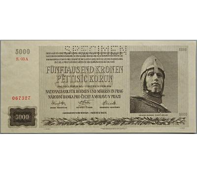 5.000 K 1944, série 03 A, perforovaná (SPECIMEN nahoře)