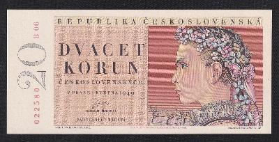 20 KORUN 1949 NEPERFOROVANÁ DRUHÉ VYDÁNÍ SÉRIE B - UNC